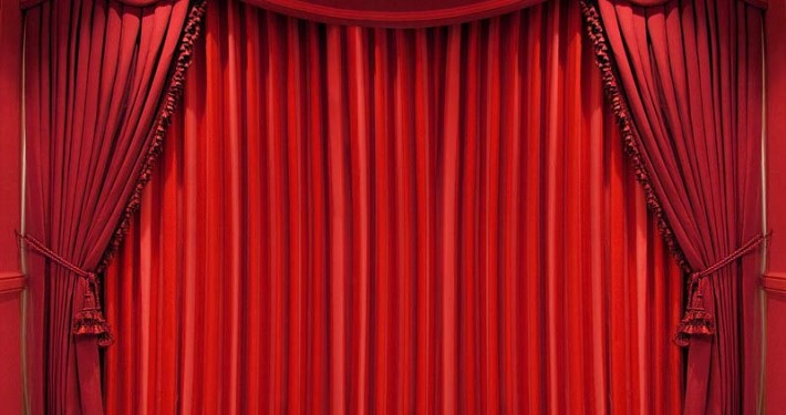 heavy red theatre curtains