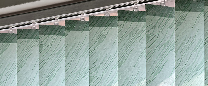 Vertical blinds on the window of the office