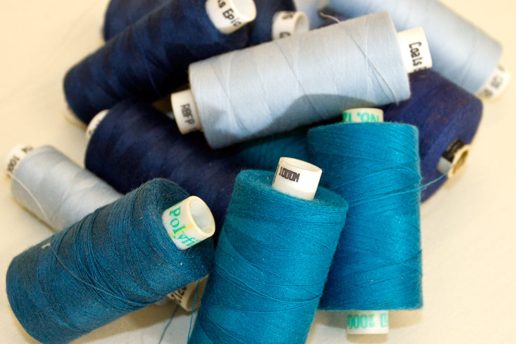 blue sewing cottons
