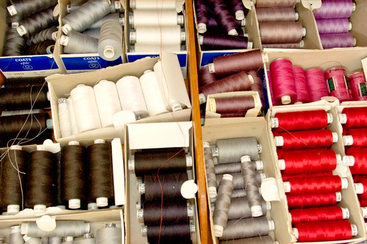 coloured cotton reels