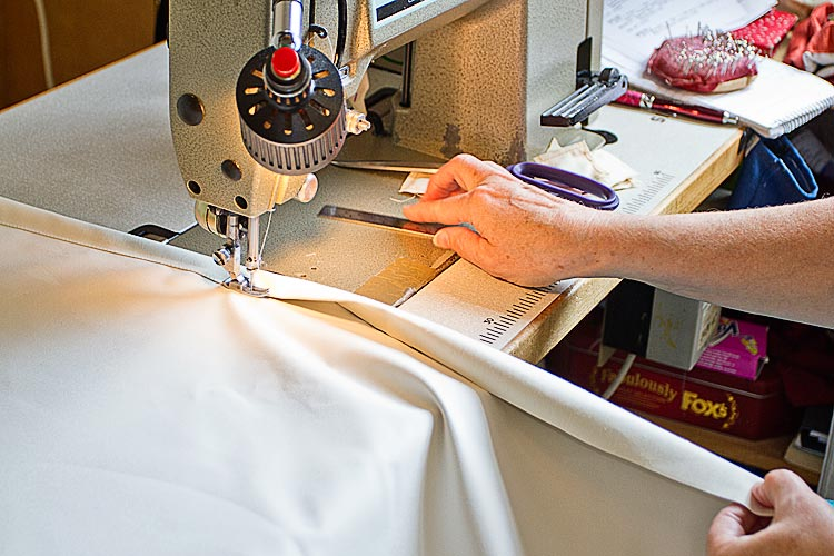 machine sewing curtain lining